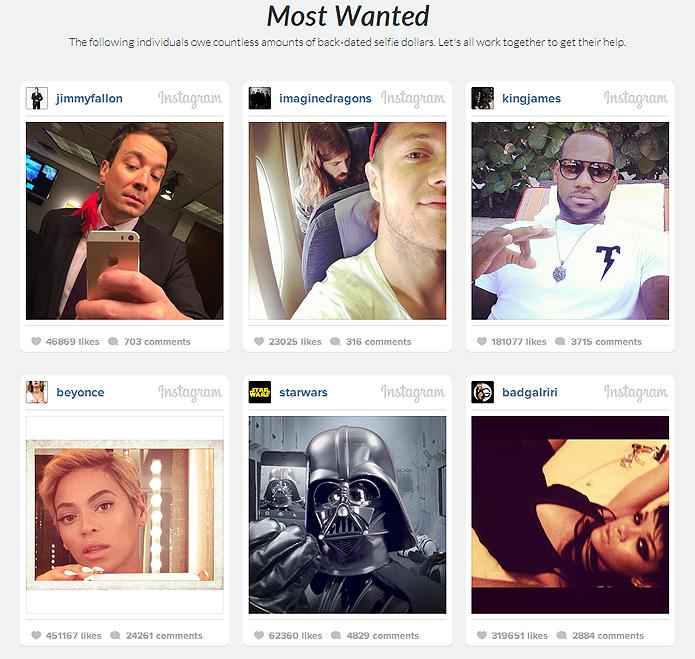 Celebridades americanas estão os procurados do site. O público pode incentivá-los a participar da iniciativa (Foto: Reprodução/Selfie Police)