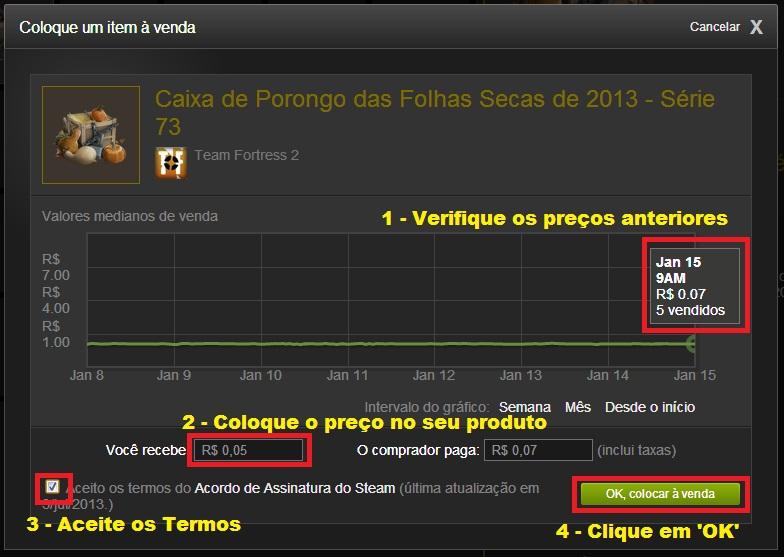 Acompanhe o Mercado, Estipule o preço do produto, Aceite os Termos e clique em OK (Foto: Reprodução/Paulo Vasconcellos)
