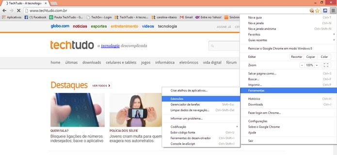 Acesse o menu do Google Chrome (Foto: Reprodução/Carolina Ribeiro)