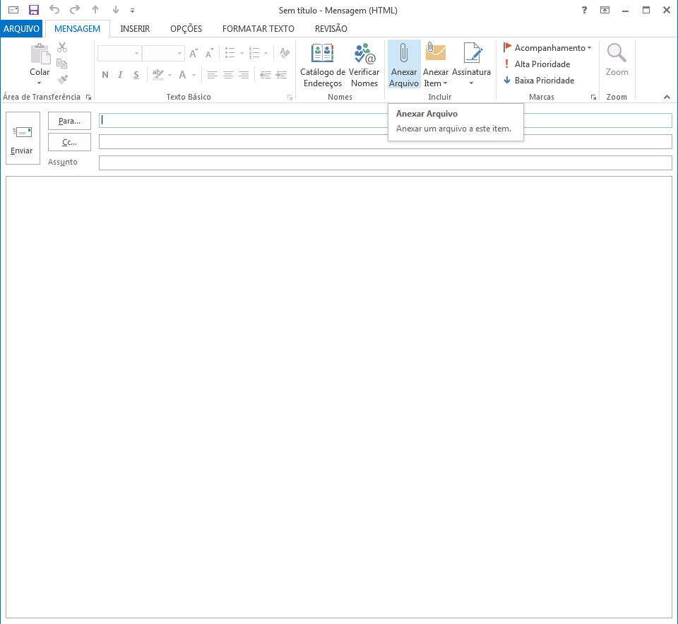 Ao escrever uma nova mensagem, clique em Anexar Arquivo para adicionar um arquivo na sua mensagem (Foto: Reprodução/ Lu Fávero)