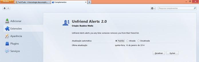 Deletando Unfriend Alert do Facebook no Firefox (Foto: Reprodução/Carolina Ribeiro)
