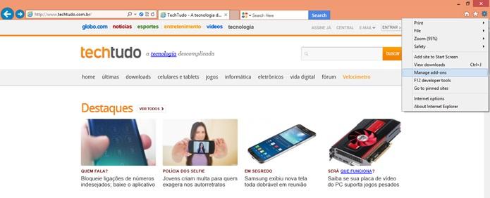 Menu do Internet Explorer (Foto: Reprodução/Carolina Ribeiro)