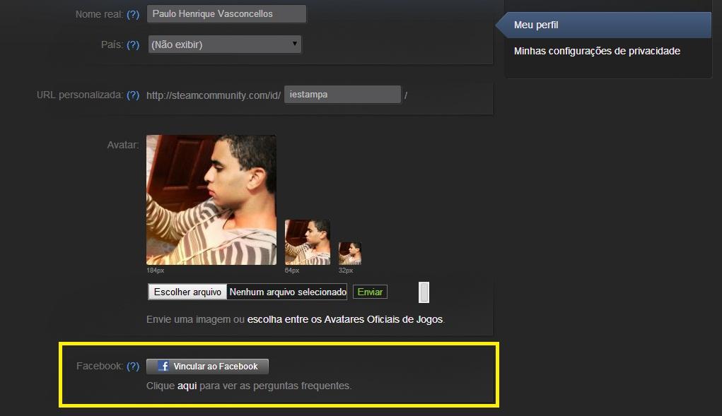 Role a página e localize o botão Vincular ao Facebook (Foto: Reprodução/Paulo Vasconcellos)