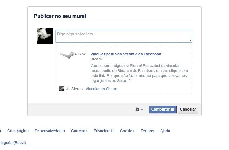 Caso queira compartilhar no Facebook sua última ação, clique no botão Compartilhar (Foto: Reprodução/Paulo Vasconcellos)