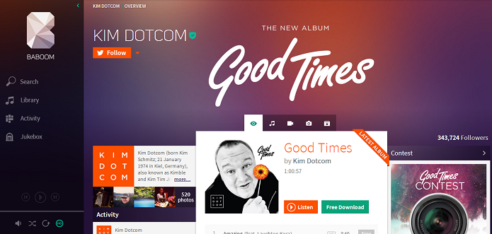 Site de Kim Dotcom ganhou um preview (Foto: Reprodução/Baboom)