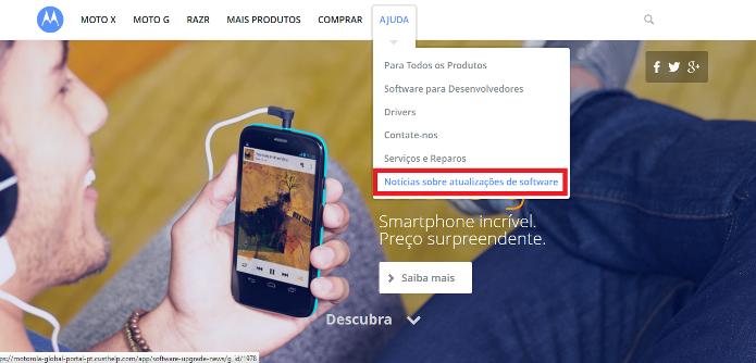 Site da Motorola (Foto: Reprodução/Lívia Dâmaso)