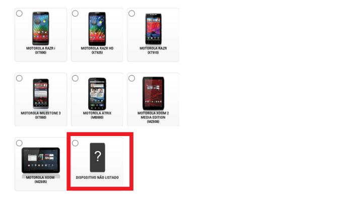 Procurando um smartphone que não está na lista (Foto: Reprodução/Lívia Dâmaso)