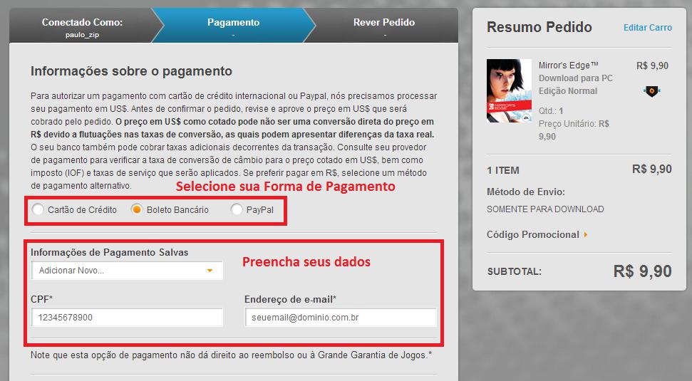 Selecione uma forma de pagamento para comprar seu jogo (Foto: Reprodução/Paulo Vasconcellos)