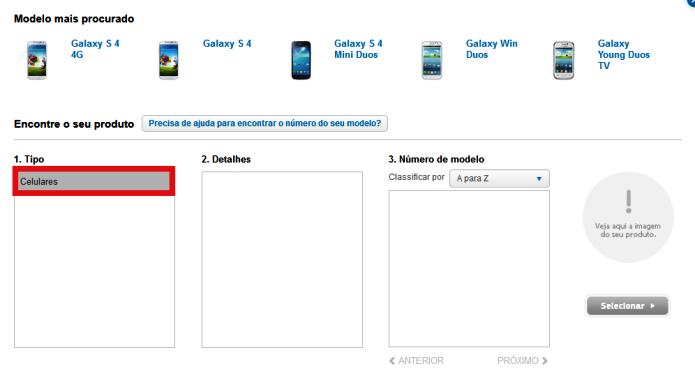 Procurando o seu smartphone no site (Foto: Reprodução/Lívia Dâmaso)