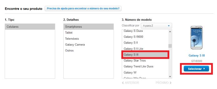 Selecione o seu aparelho Samsung (Foto: Reprodução/Lívia Dâmaso)