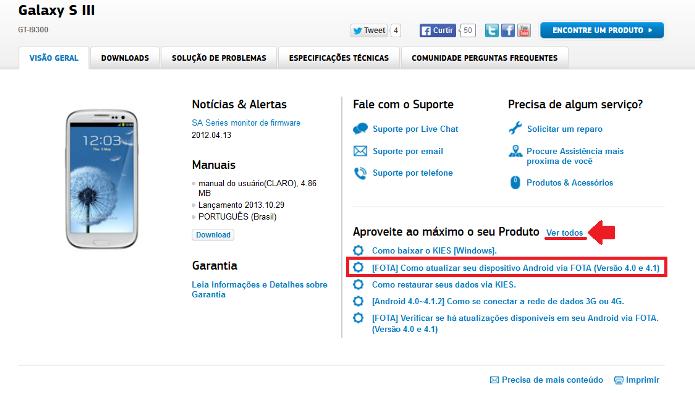 Informações sobre o aparelho Samsung (Foto: Reprodução/Lívia Dâmaso)