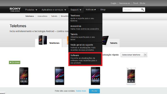 Site da Sony Mobile (Foto: Reprodução/Lívia Dâmaso)