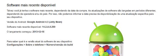 Site informa qual a última versão atualizada para o seu dispositivo (Foto: Reprodução/Lívia Dâmaso)