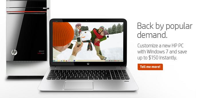 HP faz promoção com o Windows 7 (Foto: Divulgação/HP)