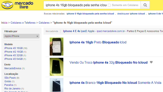 Vários iPhones bloqueados são vendidos online (Foto: Aline Jesus/TechTudo)