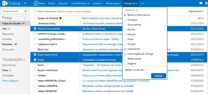 Outlook facilita a organização de e-mails por categorias (Foto: Reprodução/Vinícius Sacramento)