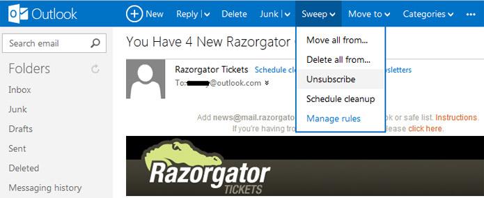 Outlook permite arrastar mensagens para apagá-las (Foto: Reprodução/Vinícius Sacramento)