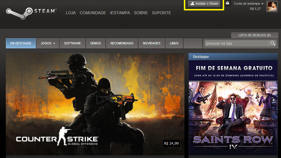 Acesse o site da Steam para baixar o programa (Foto: Reprodução/Paulo Vasconcellos)