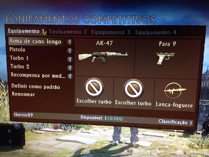 Aqui você edita as armas (Foto: Thiago Barros/TechTudo)