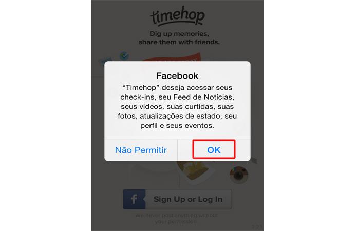 Confirmando o acesso do Timehop ao seu perfil no Facebook (Foto: Reprodução/Marvin Costa)