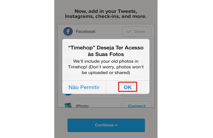 Confirmando o acesso do Timehop a biblioteca de imagens (Foto: Reprodução/Marvin Costa)