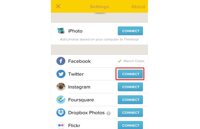 Vinculando uma rede social ao Timehop (Foto: Reprodução/Marvin Costa)