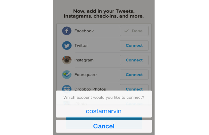 Vinculando uma conta do Twitter ao Timehop (Foto: Reprodução/Marvin Costa)