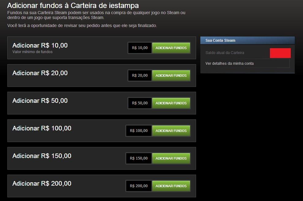 A Steam oferece seis opções de fundos (Foto: Reprodução/Paulo Vasconcellos)
