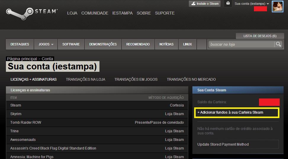 Clique em Adicionar fundos à sua Carteira Steam (Foto: Reprodução/Paulo Vasconcellos)