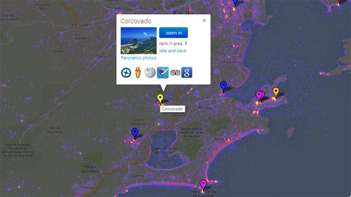 Sightsmap permite ver locais mais procurados para fotos no mundo (foto: Reprodução/Sightsmap)