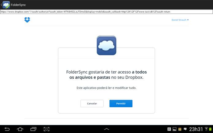 Aperte o botão Permitir para que o app possa realizar os procedimentos de sincronização (Foto: Reprodução/Daniel Ribeiro)