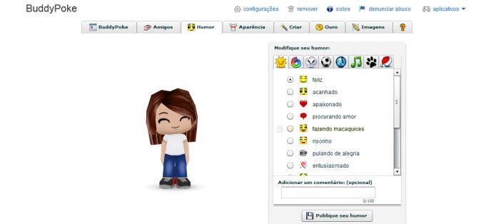 Com o aplicativo BuddyPoke é possível criar avatares animados para adicionar ao perfil (Foto: Reprodução/Orkut)