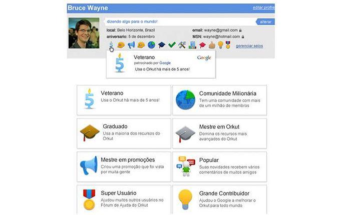 Os selos localizados no perfil representam a boa relação do usuário com o Orkut (Foto: Reprodução/Orkut)