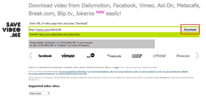 Inserido o link do vídeo e clicando na opção download do Savevideo.me (Foto: Reprodução/Marvin Costa)