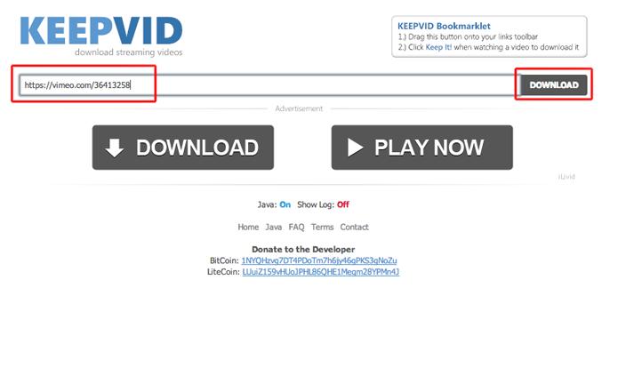 Inserindo a URL do vídeo para obter seu link de download no Keep Vid (Foto: Reprodução/Marvin Costa)