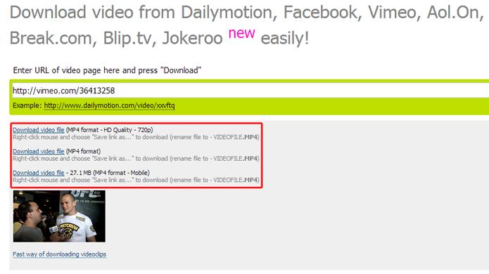 Escolhendo uma das três opção de download de vídeo do Vimeo no Savevideo.me (Foto: Reprodução/Marvin Costa)