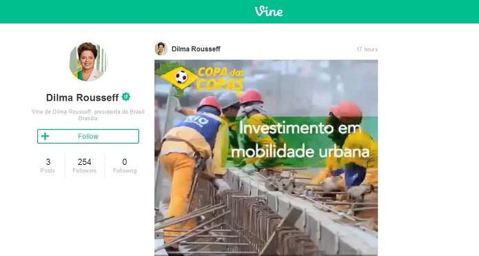 No primeiro dia, Dilma Rousseff postou três vídeos no Vine