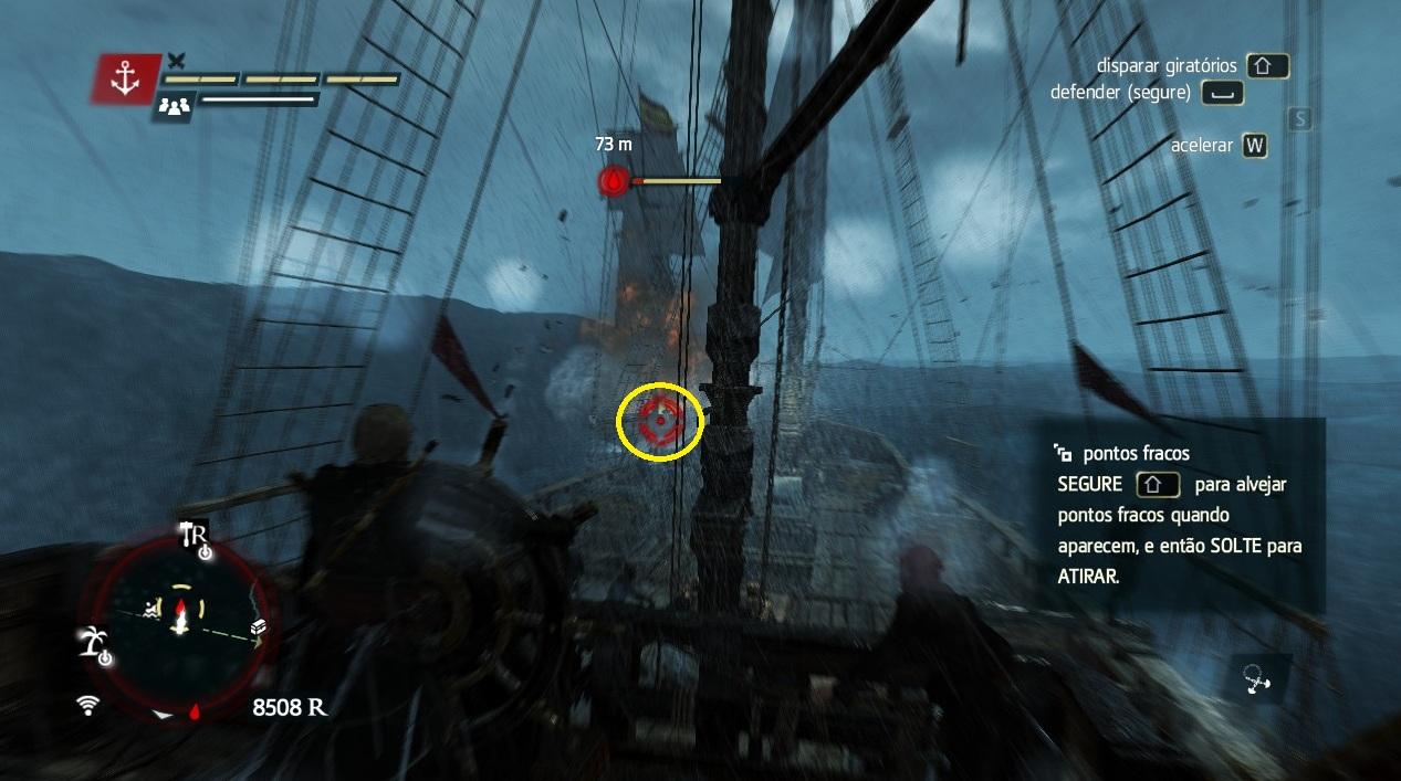 Alveje a fraqueza do navio inimigo (Foto: Reprodução/Paulo Vasconcellos)