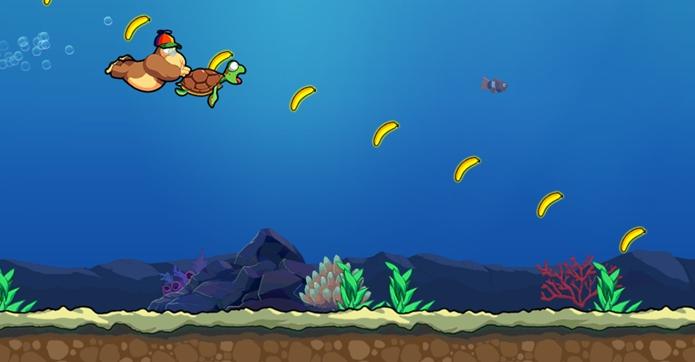 A tartaruga carrega o gorila por vários metros em alta velocidade (Foto: Reprodução / Dario Coutinho)