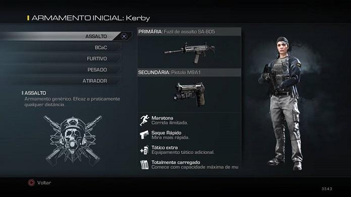 Selecione seu tipo de armamento (Foto: Thiago Barros/TechTudo)
