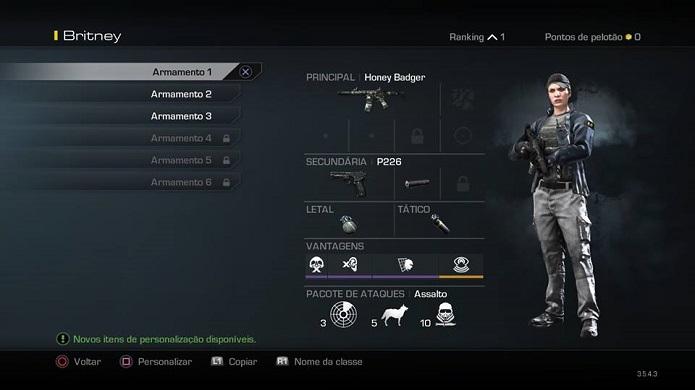 Aqui você pode personalizar as armas (Foto: Thiago Barros/TechTudo)