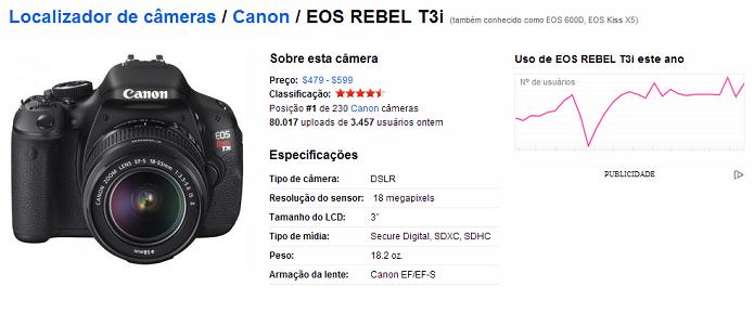 Dados da câmera aparecem em página exclusiva (Foto: Thiago Barros/TechTudo)