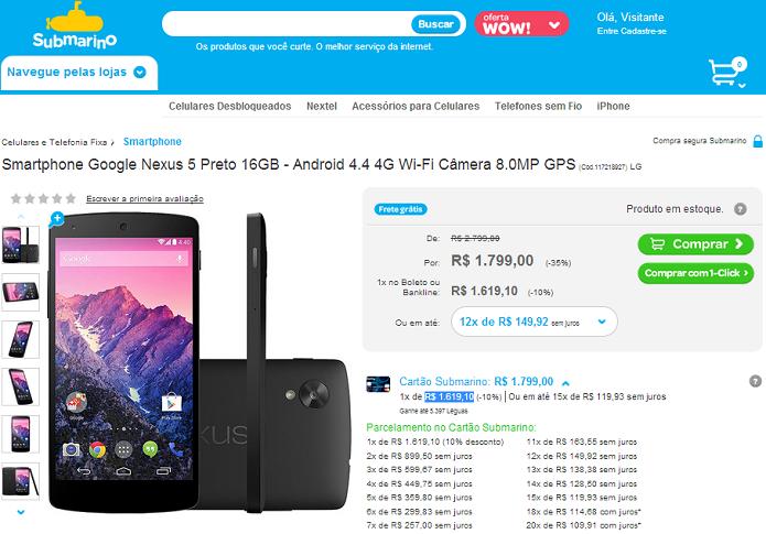 Nexus 5 está à venda por preço bem mais barato (Foto: Reprodução/Submarino)