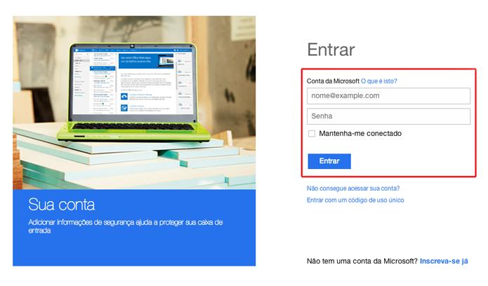 Iniciando login em uma conta Microsoft para detectar atividade hacker (Foto: Reprodução/Marvin Costa)
