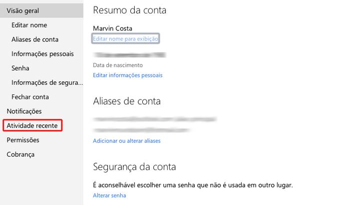 Acessando o menu de atividade recente de uma conta Microsoft (Foto: Reprodução/Marvin Costa)