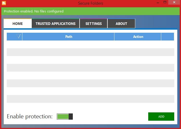 Interface do software Secure Folders no Windows 8 (Foto: Reprodução/Marcela Vaz)