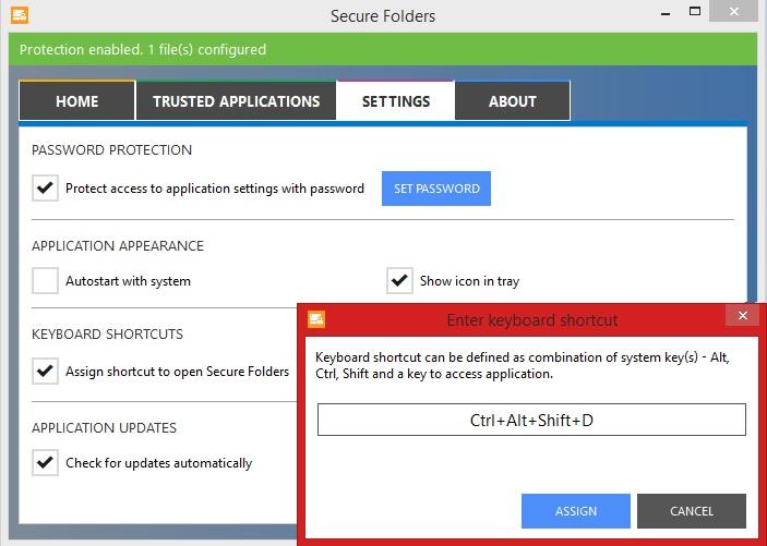 Definição de atalho para o Secure Folders no Windows (Foto: Reprodução/Marcela Vaz)
