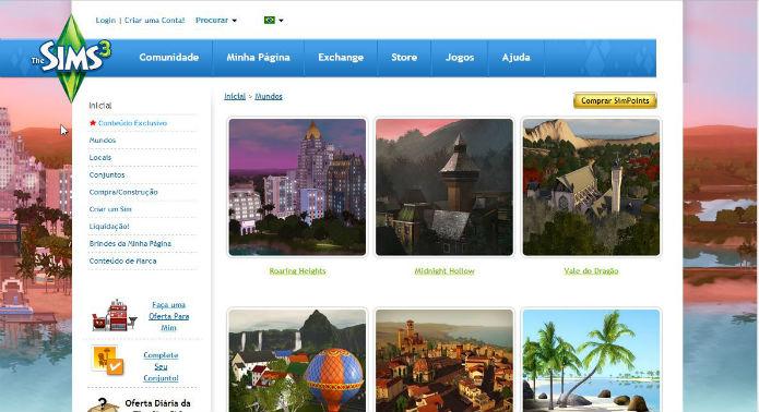 The Sims 3: Loja virtual possui Mundos gratuitos e pagos