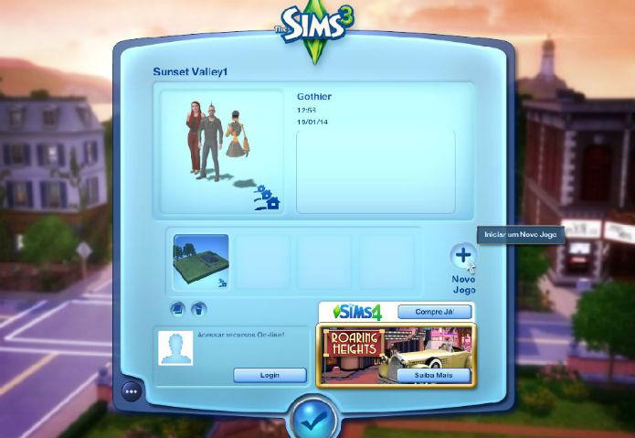 The Sims 3: use um save para cada cidade  (Foto: Reprodução/Lílian Moreira)
