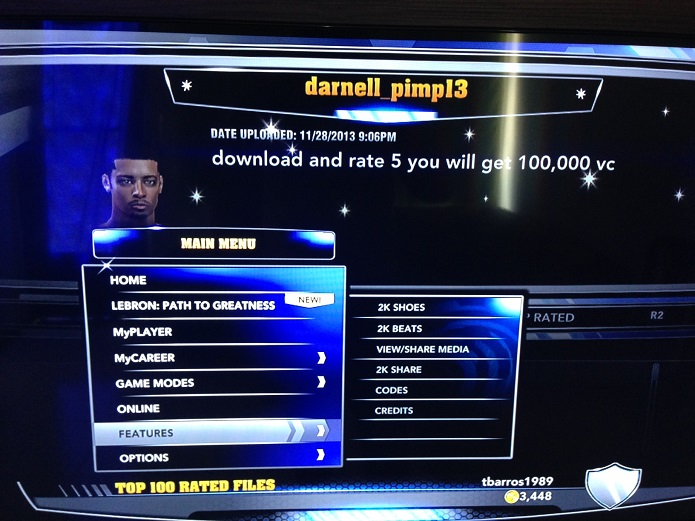 2K Share está no menu Features do NBA 2K14 (Foto: Thiago Barros/TechTudo)